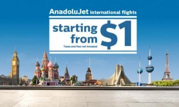 AnadoluJet ile 1 dolar + vergiler ile başlayan fiyatlarla 21 ülkeyi keşfet!